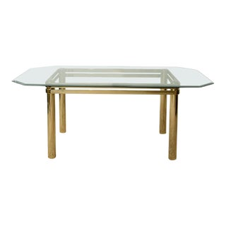 Karl Springer Hollywood Regency Style Brass and Glass Dining Table For Sale