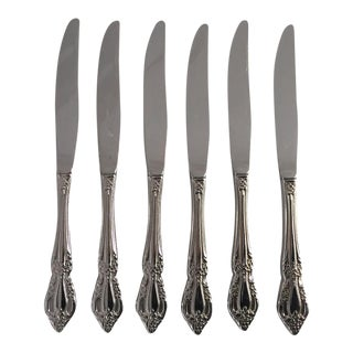 Floral Silverplate Dinner Knives - Set of 6 For Sale