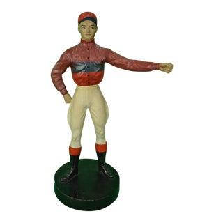 1940s Jockey Plaster Cast on Circular Wood Plinth Base For Sale