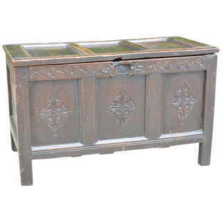 Antique Early 18th Century English Carved Oak Three-Panel Chest For Sale