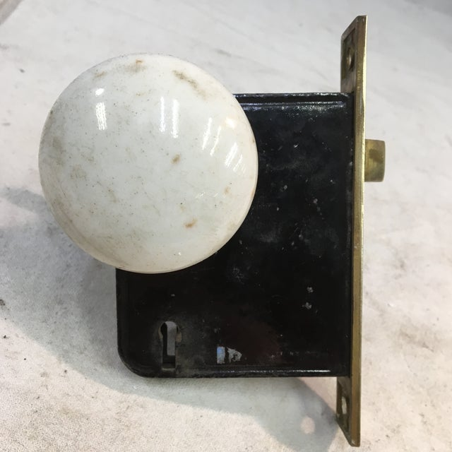 Antique Late 19th Century Eastlake Victorian Yale & Towne Mortise Lock Box With Porcelain Door Knobs For Sale - Image 10 of 13