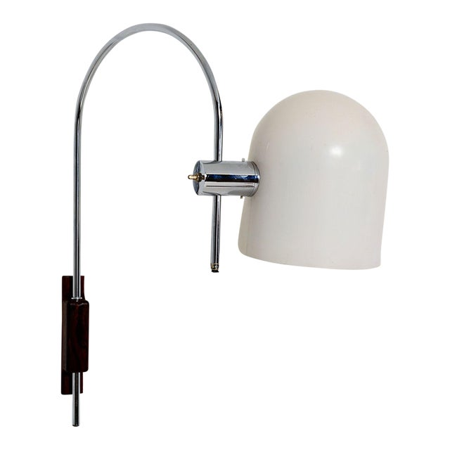 Robert Sonneman Modern Curved Chrome Wall Sconce Walnut Mount For Sale