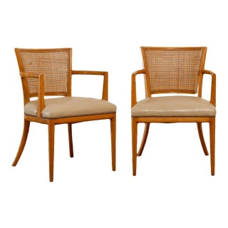 Pair of Cane Back Armchairs in the Style of Robsjohn--Gibbings For Sale