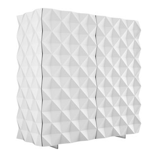 Joel Escalona Rocky Collection Geometric White Cantina Bar Cabinet For Sale