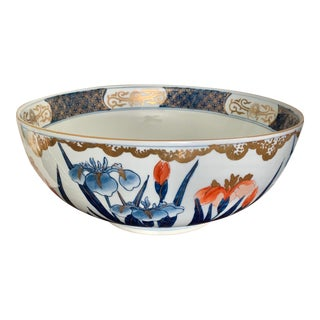 Blue and Orange Iris Hand Painted Gilt Imari Floral Botanical Japanese Bowl For Sale