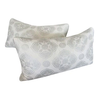 Max Studio Metallic Silver Print Pillows - A Pair For Sale
