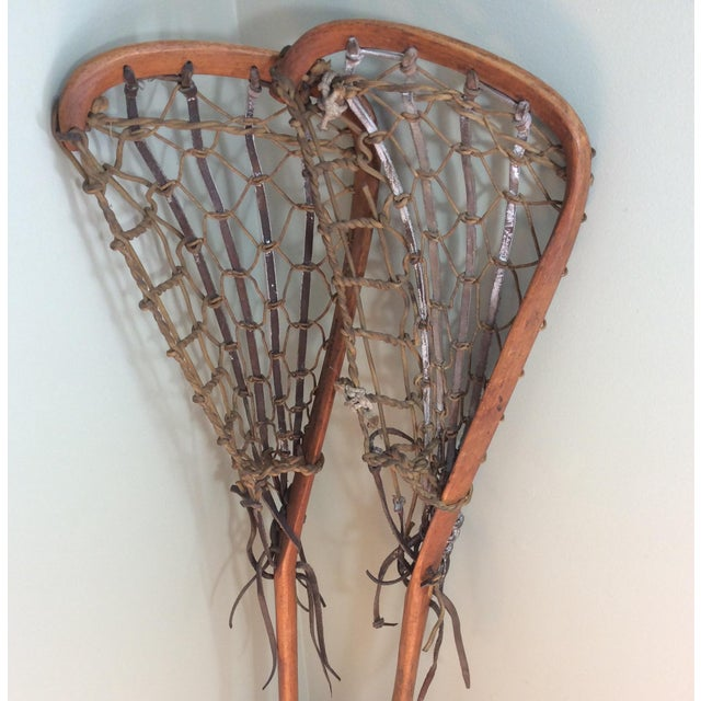 One Vintage Wood and Leather Lacrosse Stick - *** Only One Left**** For Sale - Image 5 of 7