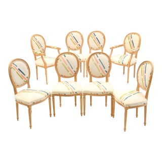 1970s Louis XVI Beige Upholstered Beech Dining Chairs - Set of 8