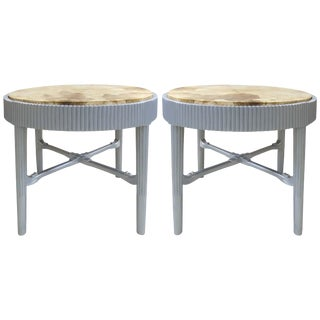 Albert Rateau French Art Deco Lacquered Tables With Goatskin Tops, Pair For Sale