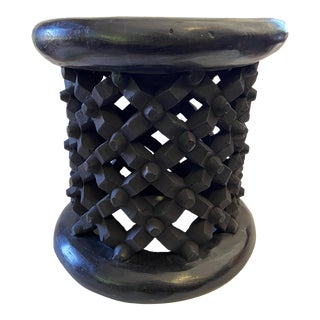 "Old African Bamileke Spider Stool/Table 13.5"" D by 14"" H For Sale"
