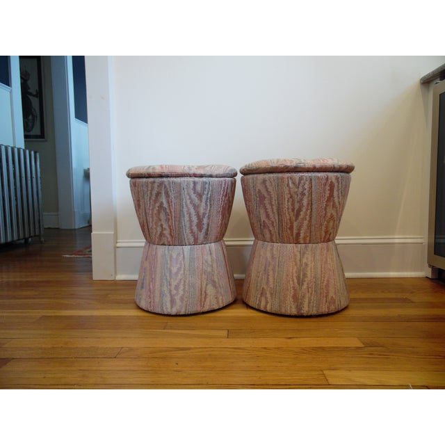 Contemporary 1980s Vintage Upholstered Stools- A Pair For Sale - Image 3 of 3