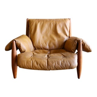 "Mid-Century Modern Sergio Rodrigues Leather and Teak ""Sheriff"" Lounge Chair For Sale"