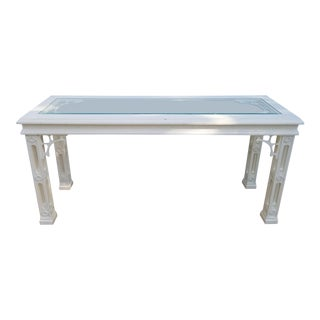 Palm Beach Hollywood Regency Fretwork White Lacquer Console Table