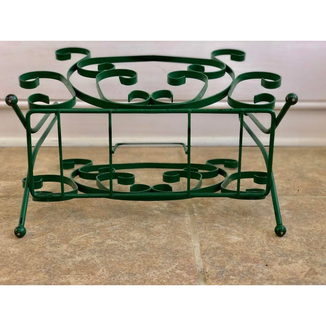 Mid 20th Century Mid-Century Modern Green Wrought Iron Magazine Rack For Sale - Image 5 of 10