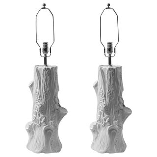 Faux Bois White Glazed Ceramic Table Lamps, A-Pair For Sale