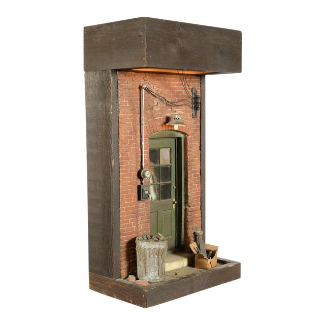 NY City ghetto w/man looking out from behind the door- Sculpture by Michael Garman For Sale