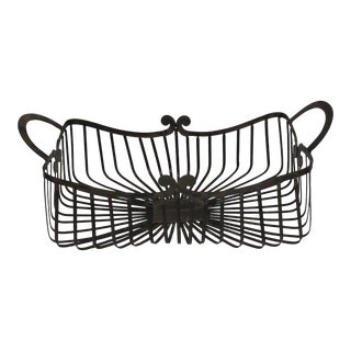 French Country Black Metal Basket For Sale