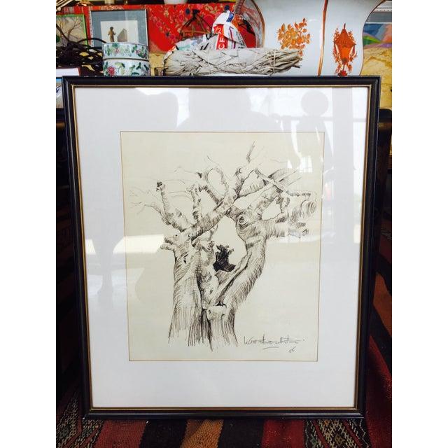 Black & Gold Framed Tree Sketching | Chairish