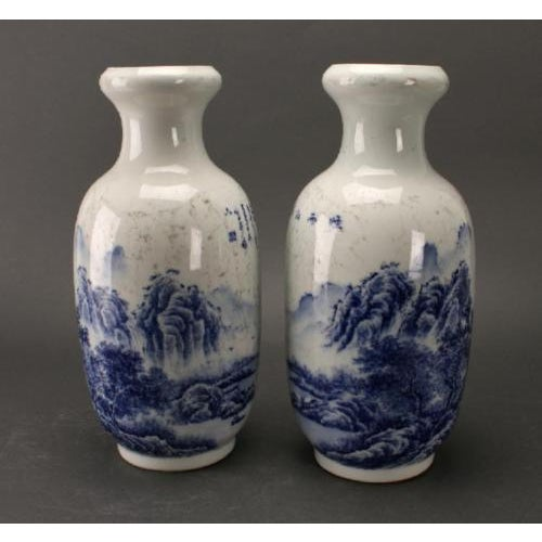 Chinese Blue & White Rousseau Vases - A Pair For Sale - Image 5 of 11