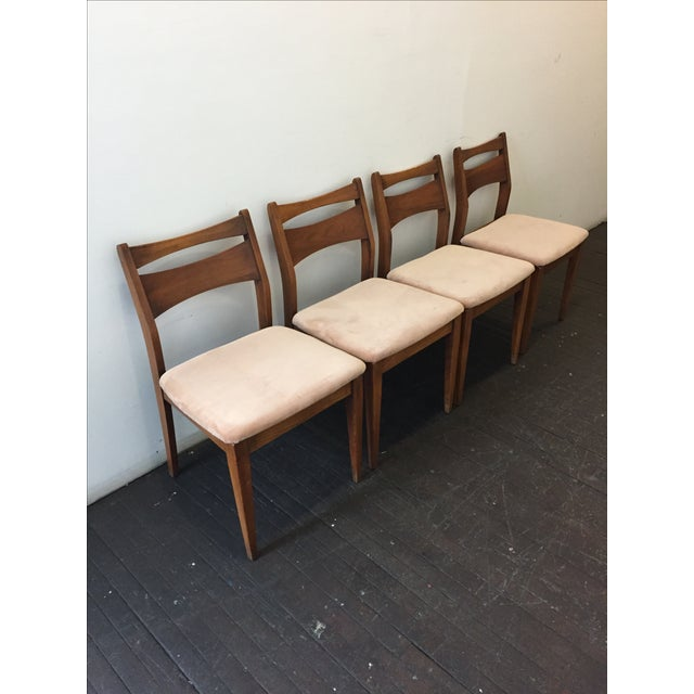 Mid-Century Velvet & Walnut Dining Chairs - Set of 4 - Image 9 of 10