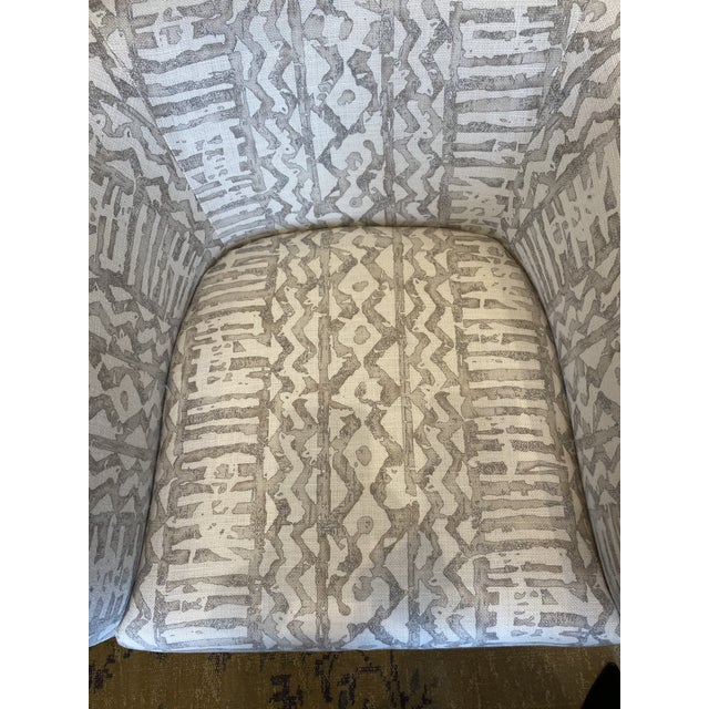 1970's Club Chair Reupholstered in Mark Alexander Linen - 2 Available For Sale - Image 4 of 9