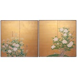 Image of 1920s Antique Taishō Era Large Gold Leaf Japanese Screens by Kogaku - a Pair For Sale