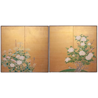 1920s Antique Taishō Era Large Gold Leaf Japanese Screens by Kogaku - a Pair For Sale
