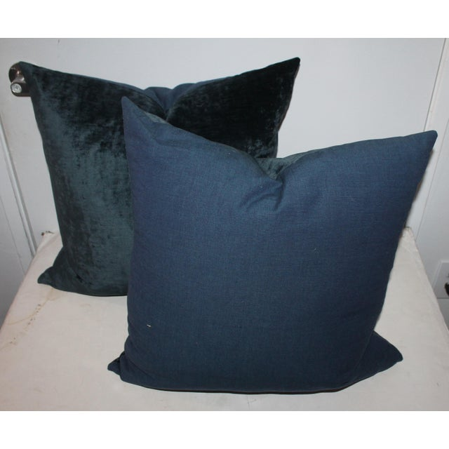 Pair fof Indigo Velvet Pillows For Sale - Image 4 of 4