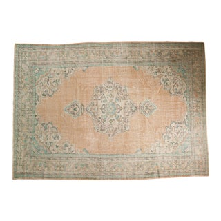 "Vintage Distressed Oushak Carpet - 7'2"" X 10'2"" For Sale"