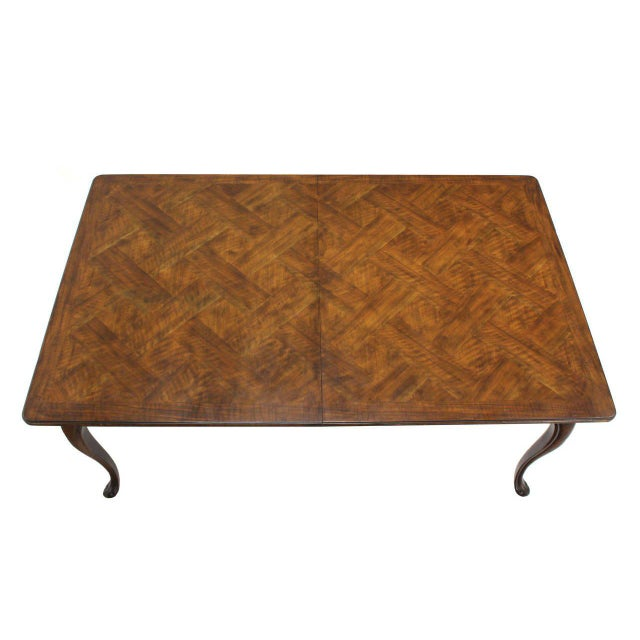 Large Baker Parquet Top Dining Table Two Extension Boards For Sale In New York - Image 6 of 8