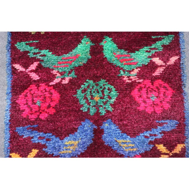 Vintage Turkish Bird Motif Tulu Rug - 2′8″ × 11′6″ - Image 6 of 11