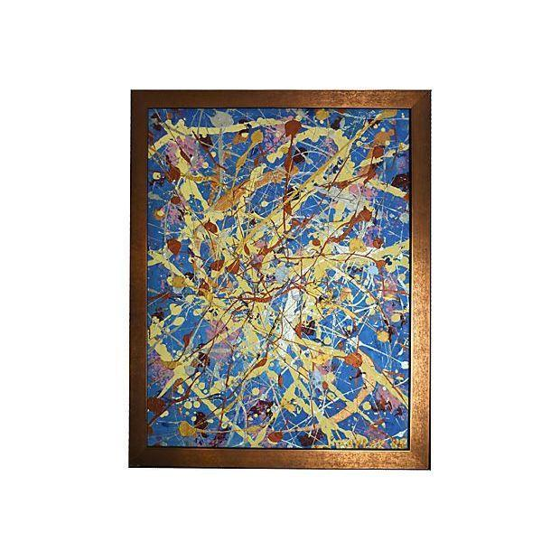 Vintage Pollock-Inspired Abstract Painting For Sale