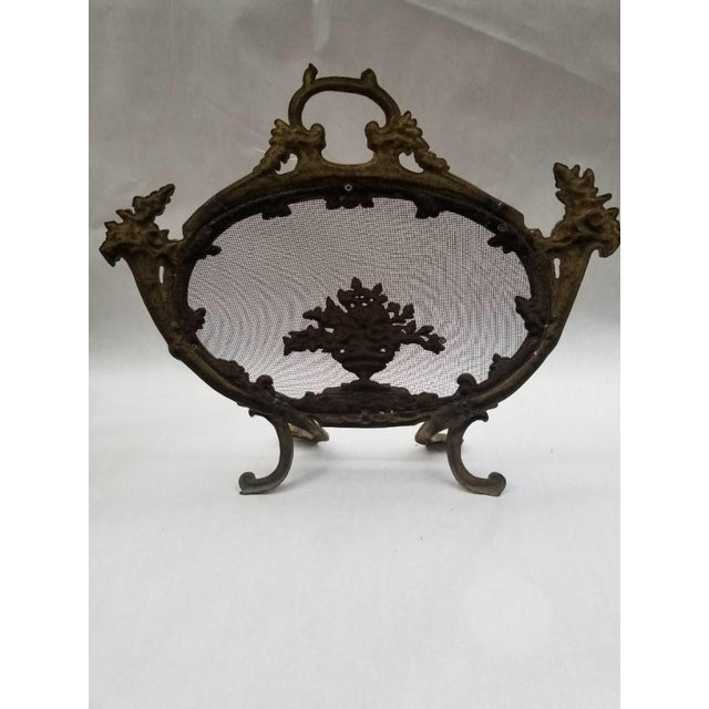French Antique French Rococo Louis XV Style Cast Bronze Flowers Fireplace Fire Screen For Sale - Image 3 of 4