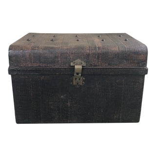 Vintage Industrial Metal Trunk For Sale