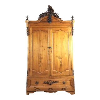 Antique Carved Wood Two-Door Armoire