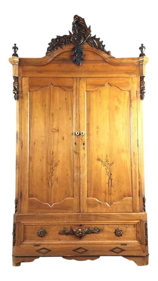 Captivating Antique Carved Wood Two Door Armoire