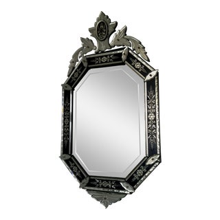 Vintage Mid-Century Venetian Style Black Banded Mirror For Sale