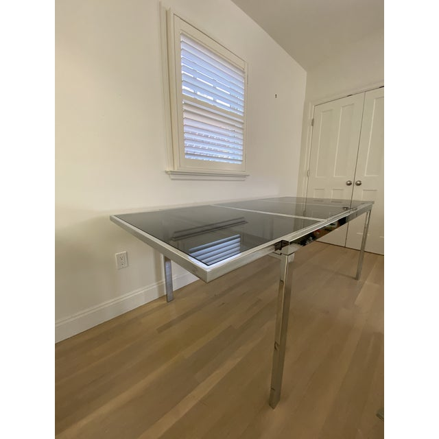 1970's Chrome and Smoked Glass Extension Dining Table by Milo Baughman For Sale - Image 10 of 13