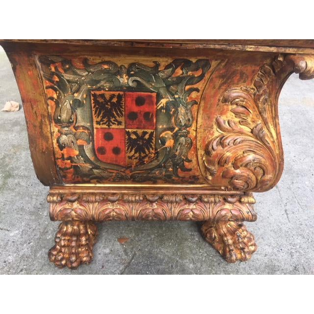 Gold 19th Century Italian Carved Giltwood & Painted Cassone For Sale - Image 8 of 13