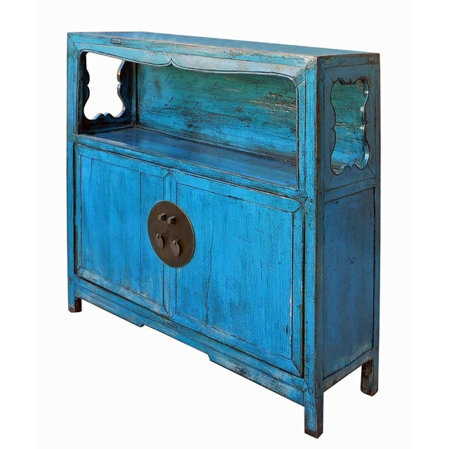 distressed chinese blue narrow console cabinet chairish. Black Bedroom Furniture Sets. Home Design Ideas