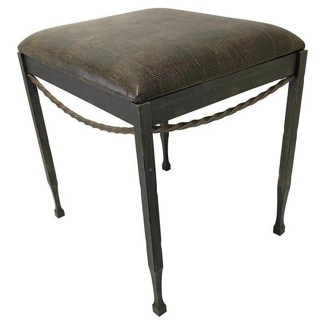 Vintage Artisan Wrought Iron Stool With Faux Lizard Fabric For Sale - Image 11 of 12