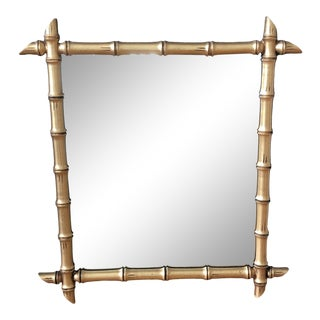 Vintage Faux Bamboo Gold Mirror For Sale