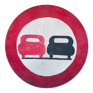 Graphic Hand-Painted Red and Black Road Safety Sign from France, circa 1930