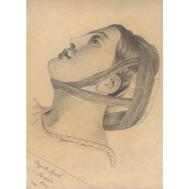 Auguste Revel 1927 Romanesque Female Portrait - Image 1 of 2