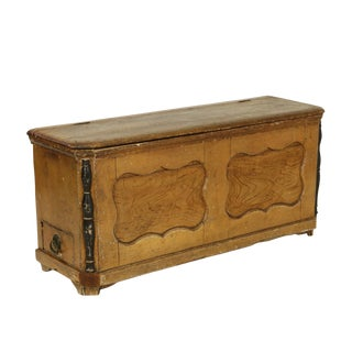1860s Ochre Painted Danish Coffer With Hinged Top and Small Side Drawer Coffer For Sale