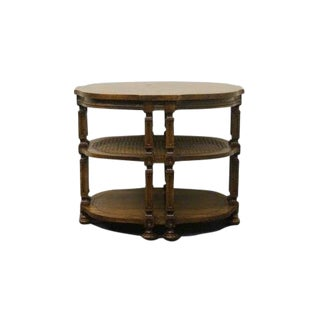 20th Century French Drexel Heritage Oval Three Tier End Table For Sale