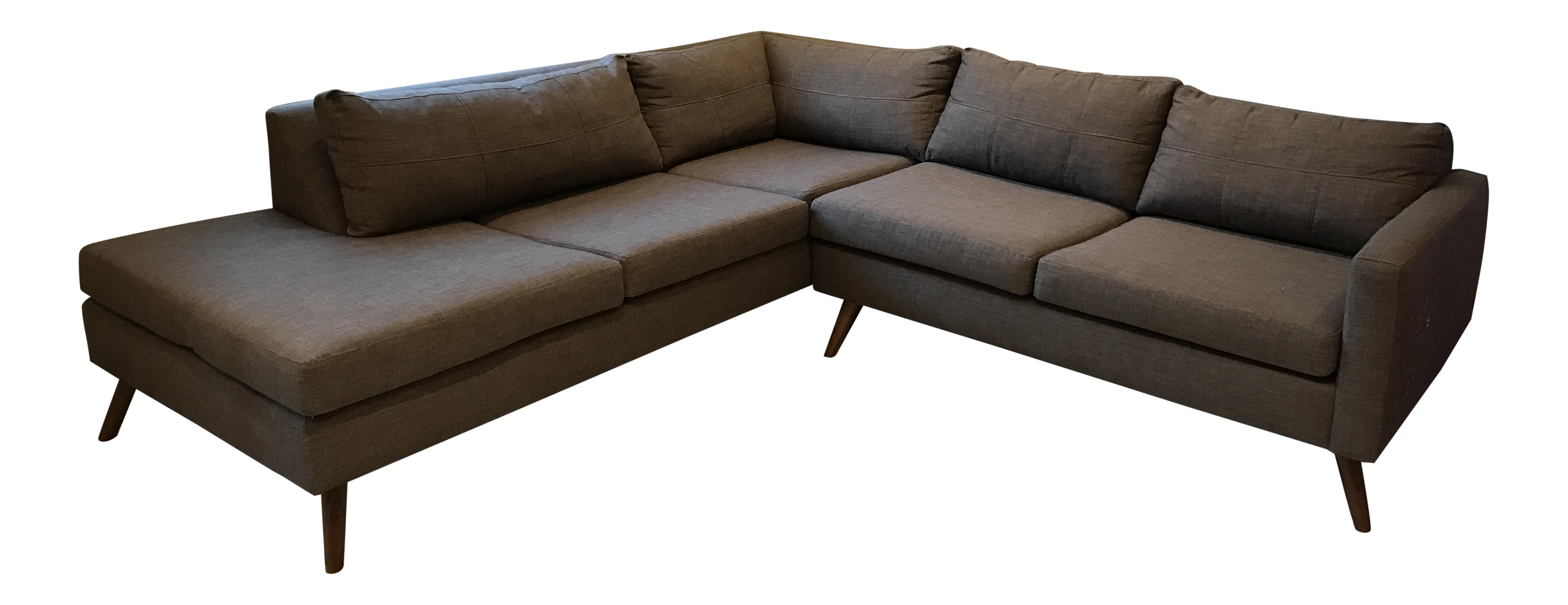 True Modern Dane Sectional Sofa With Bumper