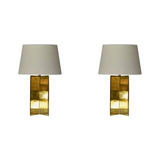 Contemporary Design Frères 'Croisillon' Solid Brass and Parchment Lamps - a Pair For Sale