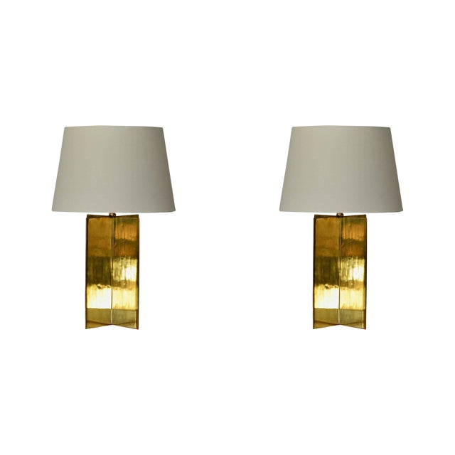 Contemporary Design Frères 'Croisillon' Solid Brass and Parchment Lamps - a Pair For Sale