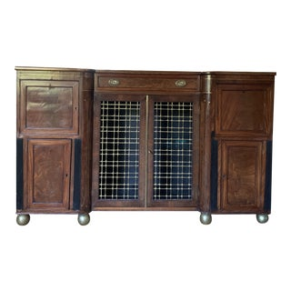Art Deco Mahogany With Brass Inlay Server Sideboard For Sale